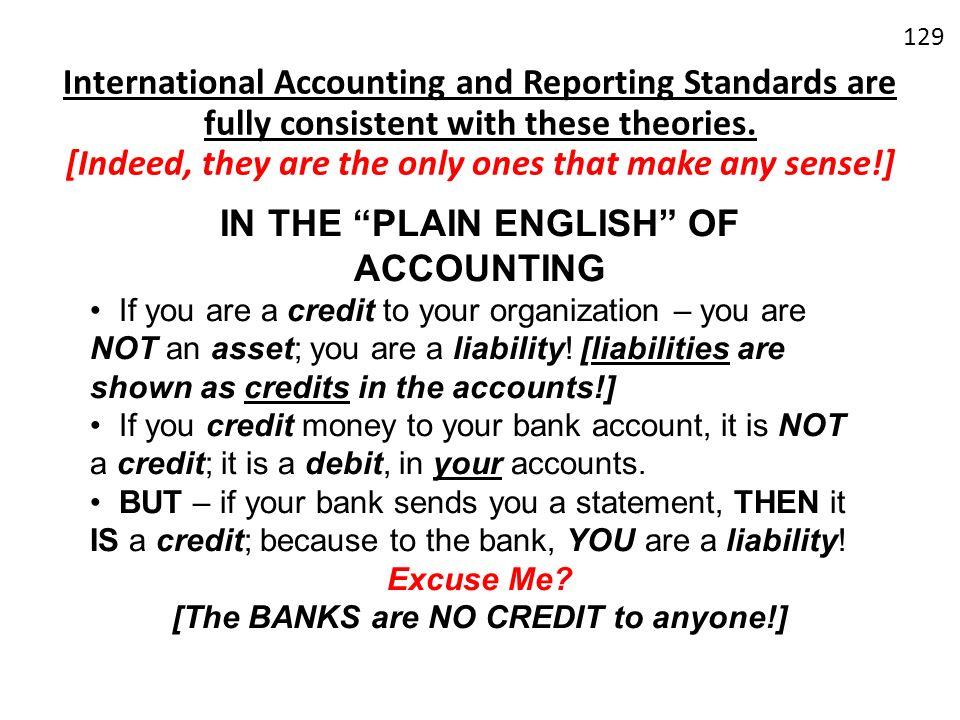 [The BANKS are NO CREDIT to anyone!]